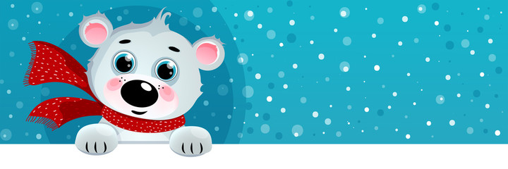 Cartoon Polar Bear, Christmas Background