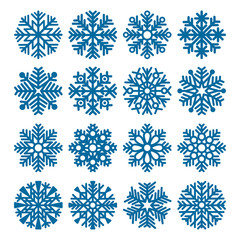 Set of vector fluffy snowflakes isolated on white background. Vector illustration.