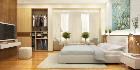 Beautiful and large bedroom with wardrobe