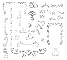 Set of hand drawn vector curls and borders
