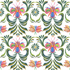 Abstract elegance seamless pattern with floral background. Hand drawn illustration in Ukrainian folk style. Ukrainian folk art. Ukrainian national motives.