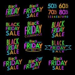 Black Friday Designs NEON   Retro Style Elements   Vintage Ornaments   Sale, Clearance   Vector Set   Black Friday retro light frame.