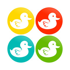 Cute Duck Circle Icons