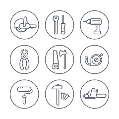 construction tools line icons in circles, vector illustration