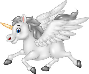 Cartoon Pegasus isolated on white background