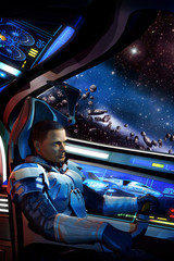 Wall Mural - space pilot spaceship and asteroid field