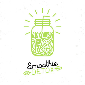 Vector smoothie detox poster in trendy linear flat style