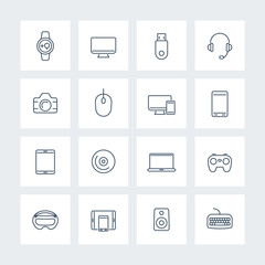 Modern gadgets linear icons pack, vector illustration
