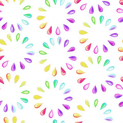 Seamless pattern with rainbow drops. Raster version.
