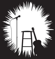 Grunged Guitarist Set Up Silhouette
