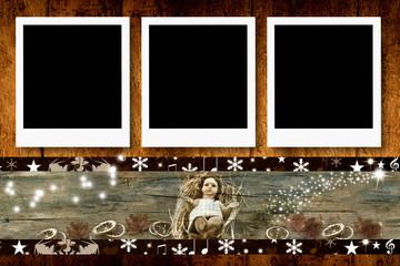 Christmas three empty photo frames