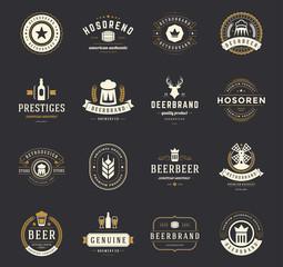 Set Beer Logos, Badges and Labels Vintage Style