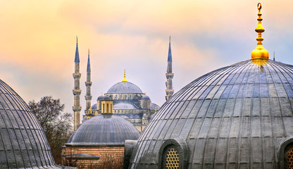 Domes of Blue Mosque in Istanbul on sunset, Turkey