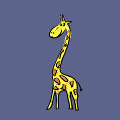 cartoon giraffe picture hand drawn