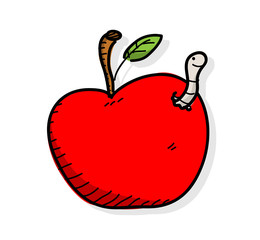 Apple Worm, a hand drawn vector illustration of an apple with worm in it.