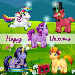 Unusual cartoon unicorns in a meadow, set of five characters