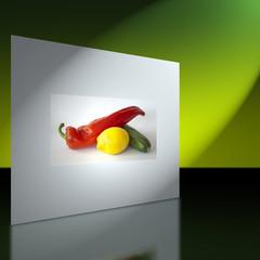 Wand mit Bild von Paprika, Zucchini und Zitrone