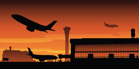 Cartoon silhouette illustration of a jet taking off from the runway of a large metropolitan airport.