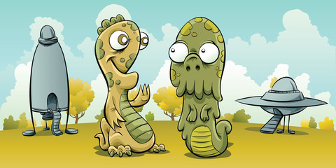 Two friendly, cartoon aliens meet after landing their UFO and flying saucer on a planet.