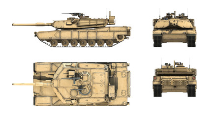 3d render of American main battle tank M1A1 Abrams