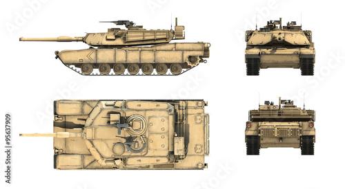 Fototapete 3d render of American main battle tank M1A1 Abrams