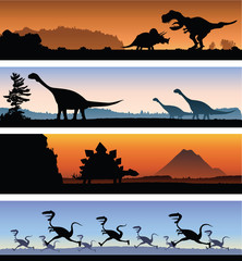 Four illustrated banner silhouettes of dinosaurs in prehistoric times.