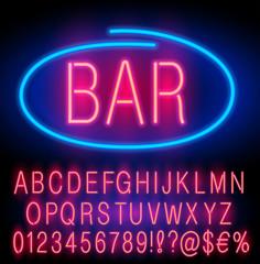 Neon font set