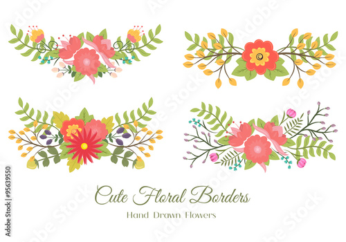 set of cute doodle borders with flowers and leaves for decoration or