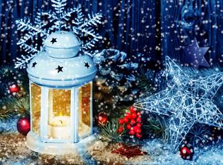 Laterne, Weihnachtsdekoration, Schneegestöber
