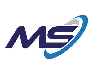 MS Letter Swoosh Media Technology Logo