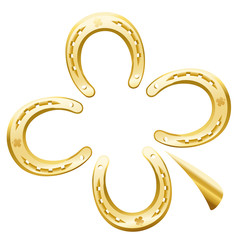 Clover leaf made of four golden horseshoes as a symbol for good luck. Isolated vector illustration on white background.