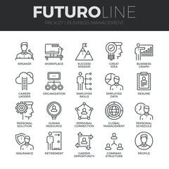 Business Management Futuro Line Icons Set