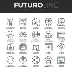 Cloud Data Technology Futuro Line Icons Set