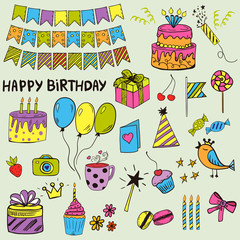 Colorful and bright doodle style birthday kit