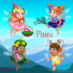 Four flying fairies with different accessories and objects