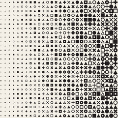 Vector Seamless Black and White Circle Square Cross Triangle Shapes Halftone Grid Pattern Geometric Background