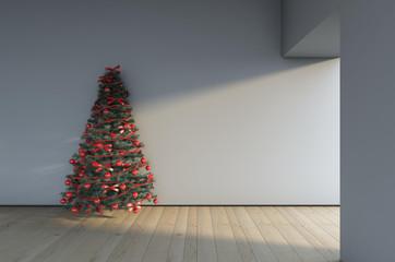 Cristmas Tree On A Grey Wall