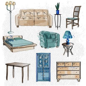 vector set of furniture sketch