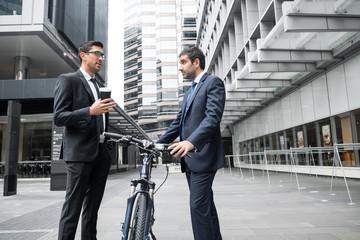 Two businessmen having walk