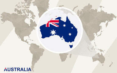 Zoom on Australia Map and Flag. World Map.