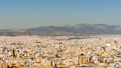 Panorama of Ahtens, Greece, out of the Acropolis hill.