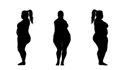 overweight fat woman silhouettes