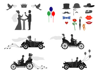 set of wedding invitations on the vintage cars and sports cars . The groom gives the bride flowers . Different subjects for designers.