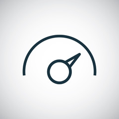 speedometer outline, thin, flat, digital icon.