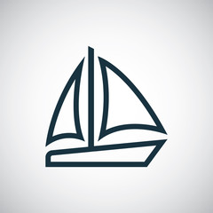 sail boat outline, thin, flat, digital icon.