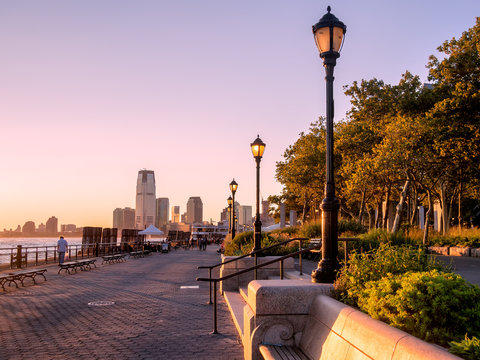 Sunset at Battery Park in New York City