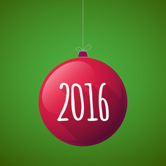 Long shadow vector christmas ball icon with a 2016 sign