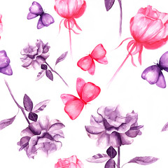 Seamless pattern with pink and purple roses and butterflies