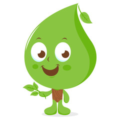 Vector illustration of a leaf cartoon character.