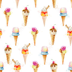 Seamless pattern with ice cream cones isolated on white backgrou